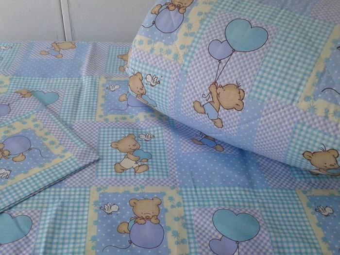 Олекотен комплект за бебе от ранфорс Синьо Мече