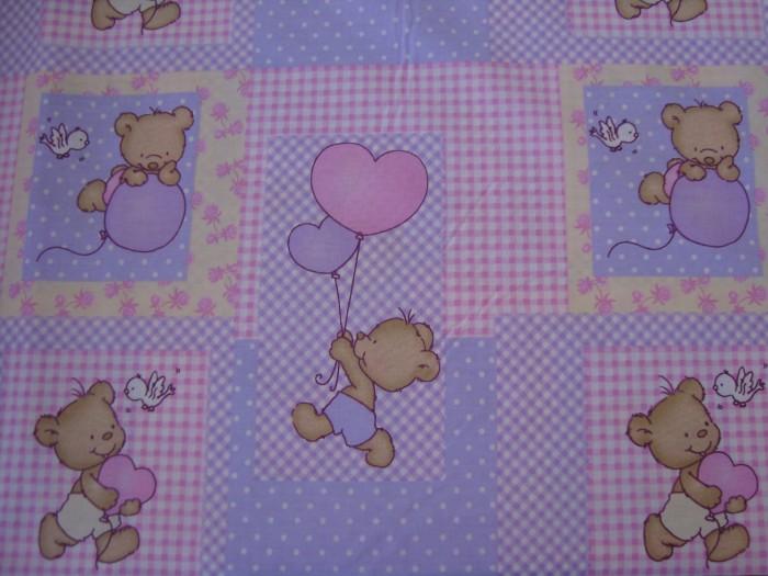 Комплект чаршафи  за бебе от ранфорс Розово Мече