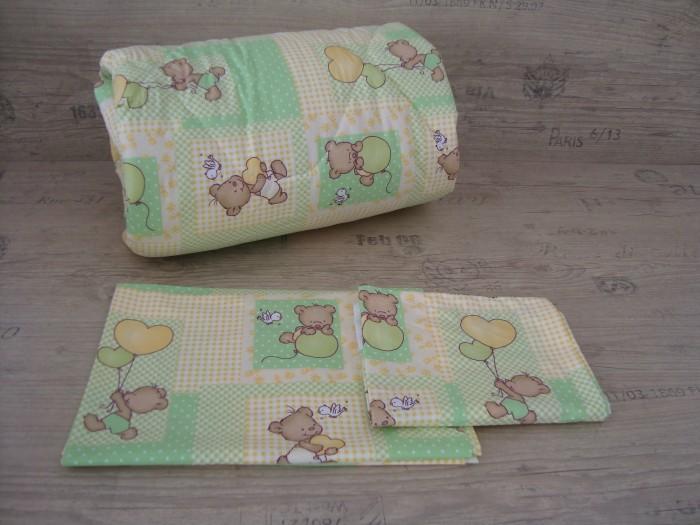 Олекотен комплект за бебе от ранфорс  Зелено Мече