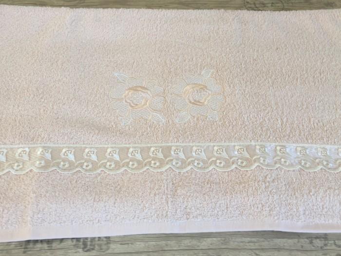 Хавлиена кърпа апликация цвят бледо розов