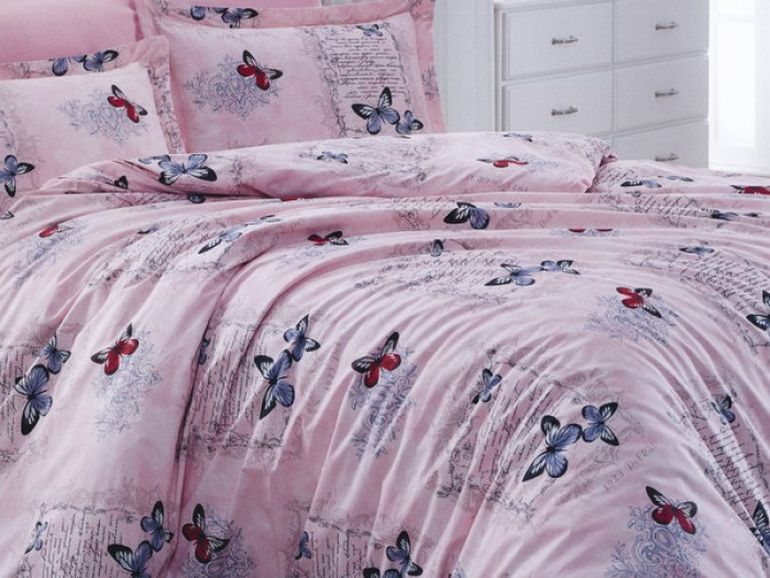 Комплект чаршафи от ранфорс - Розово пеперуди