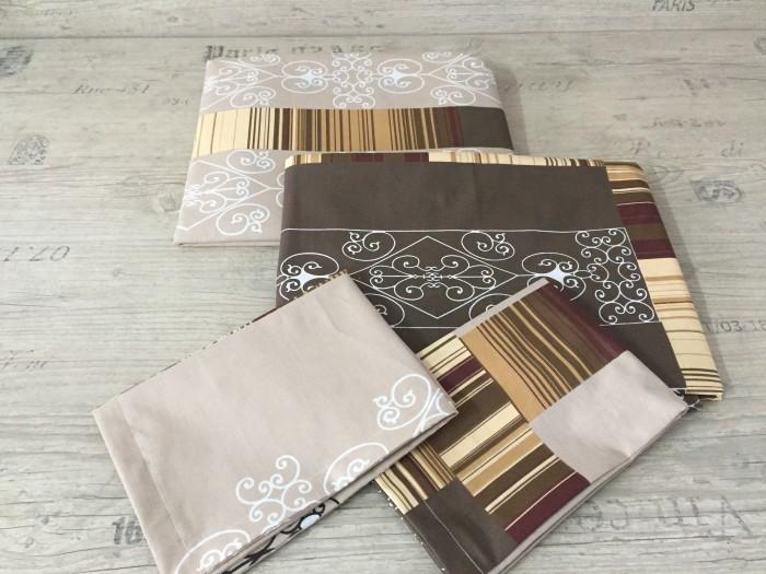 Комплект чаршафи от ранфорс - Кафяви орнаменти