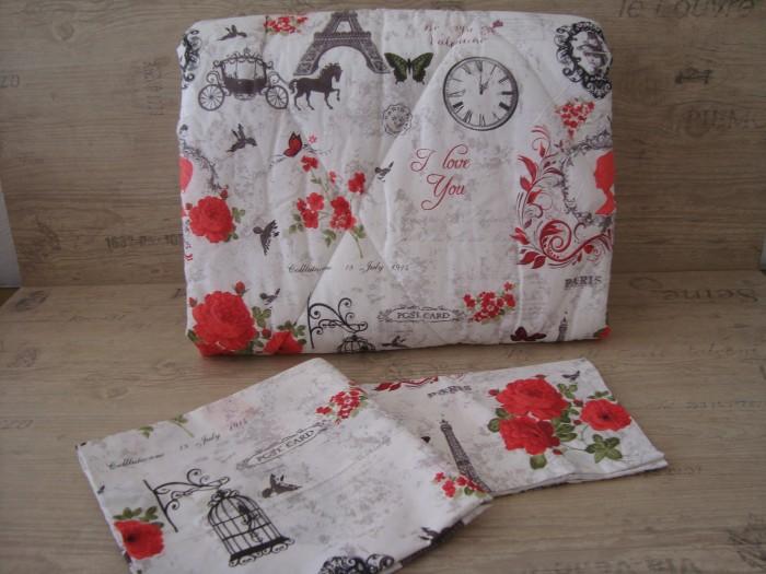 Олекотен комплект от памук - Айфелова кула с червени цветя