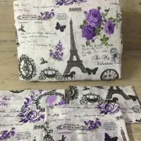 Олекотен комплект от памук - Айфелова кула с лилави цветя