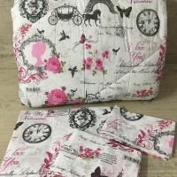 Олекотен комплект от памук - Айфелова кула с розови цветя