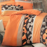 Олекотен комплект от ранфорс - Оранжево-кафяво фигури