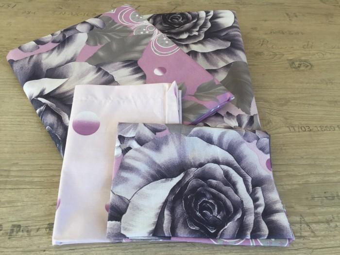 Комплект чаршафи от ранфорс - Лилави рози - наподобяващ  3D ефект