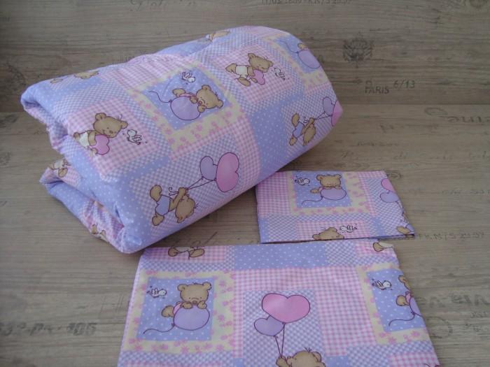 Олекотен комплект за бебе от ранфорс  Розово Мече