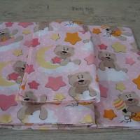 Комплект чаршафи за бебе от ранфорс Розово Мече звезди и луни