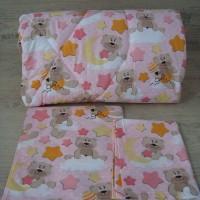 Олекотен комплект за бебе от ранфорс Розово Мечета  звезди и луни