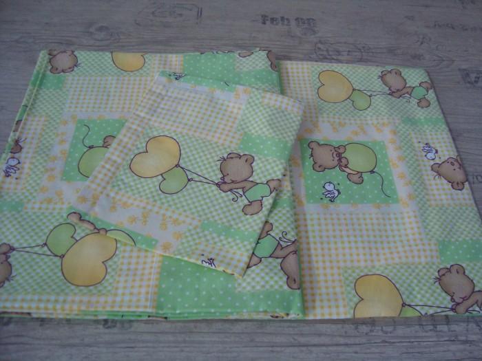 Комплект чаршафи за бебе от ранфорс  Зелено Мече