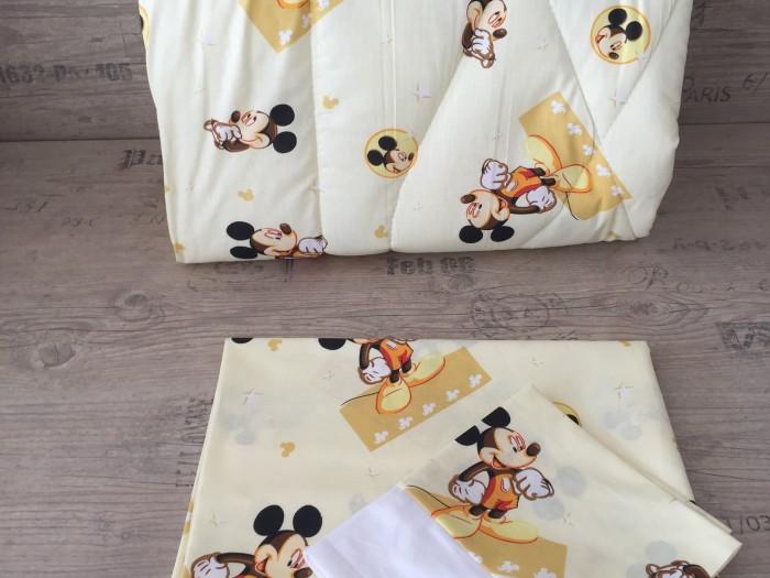 Олекотен комплект за бебе от ранфорс Мики Маус жълто