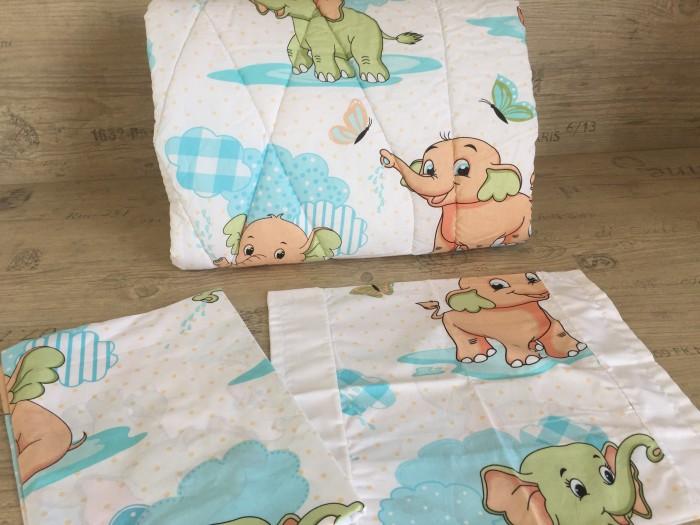 Олекотен комплект за бебе от ранфорс Слончета