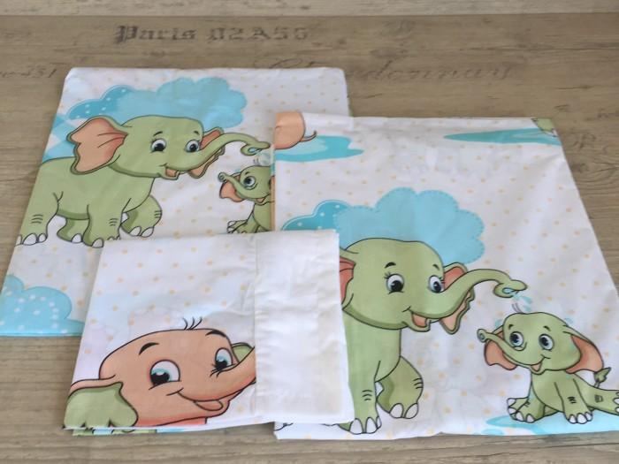 Комплект чаршафи за бебе от ранфорс Слончета