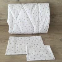 Олекотен комплект за бебе от ранфорс  Бяло на сиви звездички