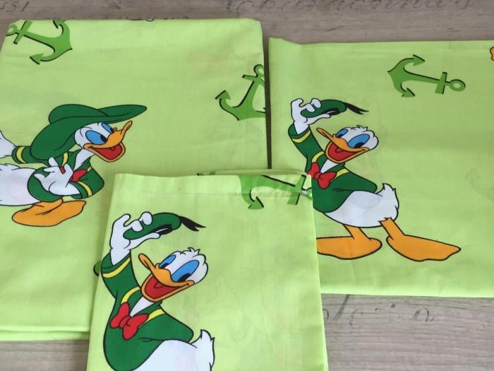 Комплект чаршафи за бебе от ранфорс  патока Доналд  зелено
