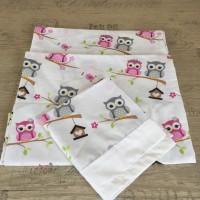 Комплект чаршафи за бебе от ранфорс малки Бухалчета