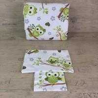 Олекотен комплект за бебе от ранфорс  Бухалчета зелено