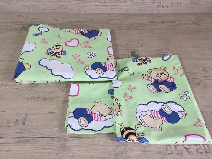 Комплект чаршафи за бебе от ранфорс  Зелено Мече  Пеперуди