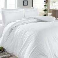 Комплект чаршафи от памучен сатен Бяло рае