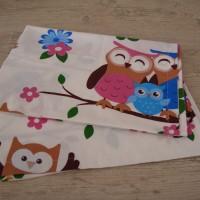 Комплект чаршафи за бебе от ранфорс  Бухалчета